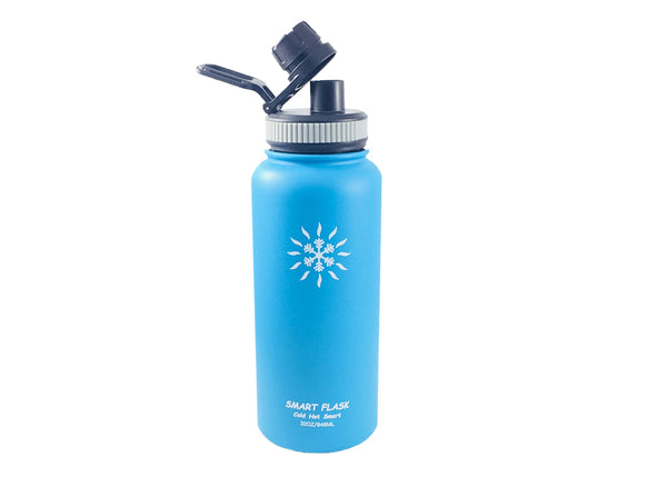 Smart Flask 32oz Stainless Steel, Wide Mouth, Vacuum Insulated, Double Walled Water Bottle with Big Swig, Leakproof lid. (Blue)