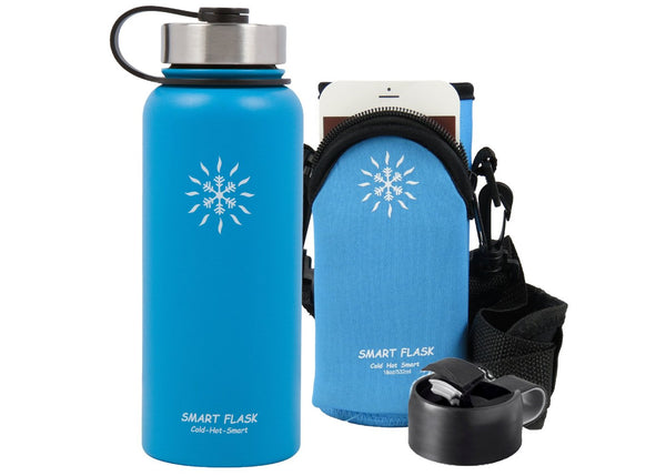 18oz Stainless Steel Vacuum Insulated Flask with Flip Top, Metal Lid and pouch (Caribbean Blue)