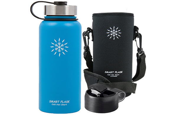 Smart Flask Stainless Steel 32 Oz., Vacuum Insulated Flask with Pouch , Metal and Flip Top Lid, (Blue)