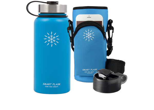 Smart Flask Stainless Steel, 32oz., Vacuum Insulated Flask, with Pouch, Metal and Flip Top Lid, (Blue)