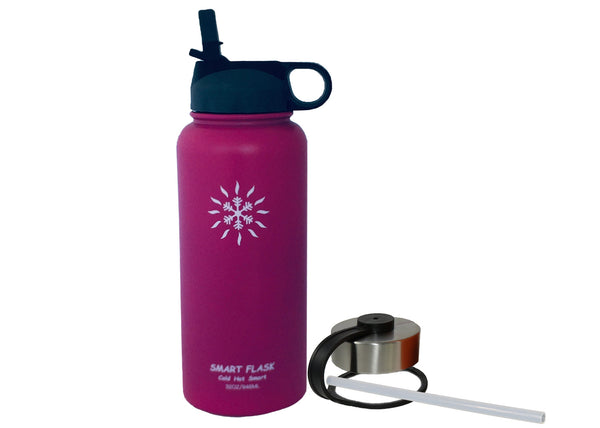 Smart Flask 32oz Stainless Steel, Wide Mouth, Vacuum Insulated, Double Walled Water Bottle, Includes Leakproof Travel Lid and Convenient Straw Cap (Fuchsia)
