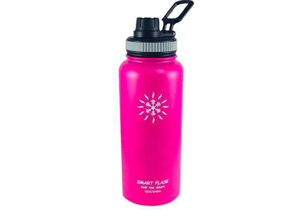 Smart Flask 32oz Stainless Steel, Wide Mouth, Vacuum Insulated, Double Walled Water Bottle with Big Swig, Leakproof lid. (Fuchsia)