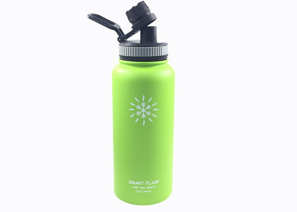 Smart Flask 32oz Stainless Steel, Wide Mouth, Vacuum Insulated, Double Walled Water Bottle with Big Swig, Leakproof lid (Lime)