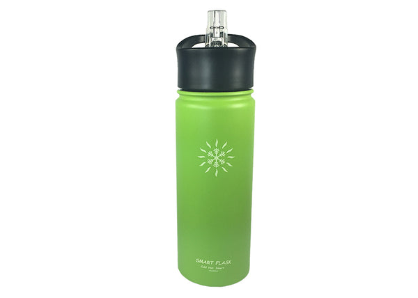Smart Flask 18oz Stainless Steel, Wide Mouth, Insulated Water Bottle with Solid, one Piece Biteproof Straw Lid