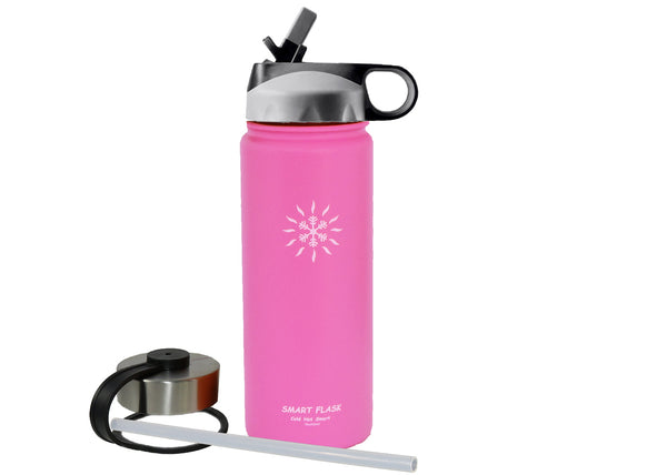 18oz Stainless Steel Vacuum Insulated Flask with Straw Lid and Stainless Steel Lid (Hot Pink)