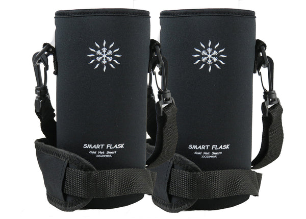 Smart Flask Neoprene Pocketed Pouch 2 Pack.  For Bottles 3.5 inches in diameter by 7 inches or taller