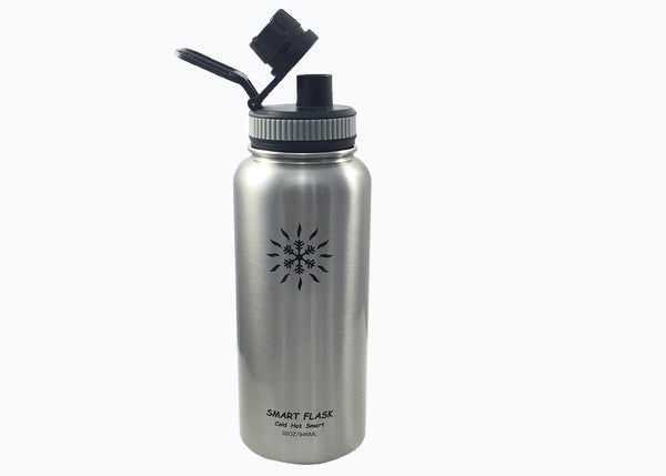 Smart Flask 32oz Stainless Steel, Wide Mouth, Vacuum Insulated, Double Walled Water Bottle with Big Swig, Leakproof lid. (Stainless Steel)