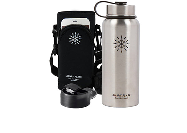 Smart Flask Stainless Steel 32 Oz. Vacuum Insulated Flask, With Metal Lid, Flip Top Lid and pouch. (Stainless)