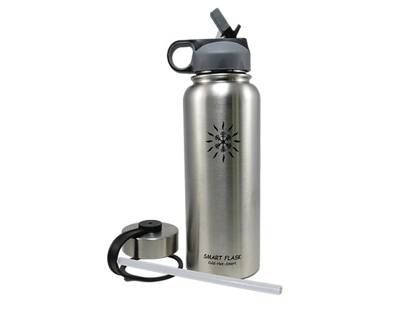 18oz Stainless Steel Vacuum Insulated Flask with Straw Lid and Stainless Steel Lid (Stainless Steel)