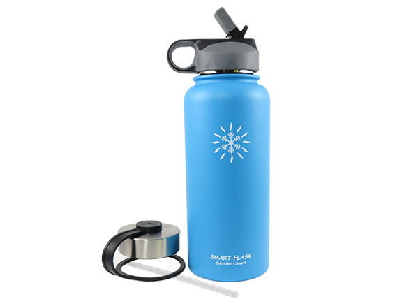 18oz Blue Stainless Steel Vacuum Flask with convenient straw lid