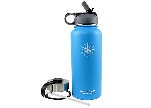 32oz Stainless Steel Vacuum Flask with a Stainless Steel lid and Handy Straw Lid  (Caribbean Blue)