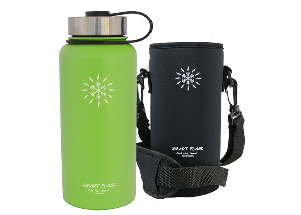 Smart Flask Stainless Steel 32 Oz., Vacuum Insulated Flask with Pouch , Metal and Flip Top Lid, (Lime)