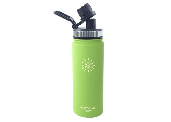Smart Flask 18oz Stainless Steel, Wide Mouth, Insulated Water Bottle with Leakproof Big Swig Sports Lid