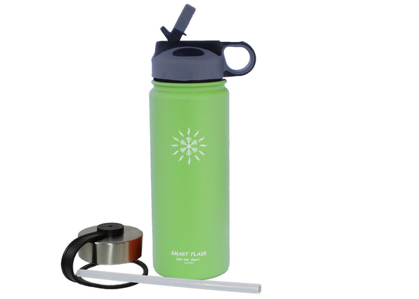 18oz Stainless Steel Vacuum Insulated Flask with Straw Lid and Stainless Steel Lid (Tahitian Lime)
