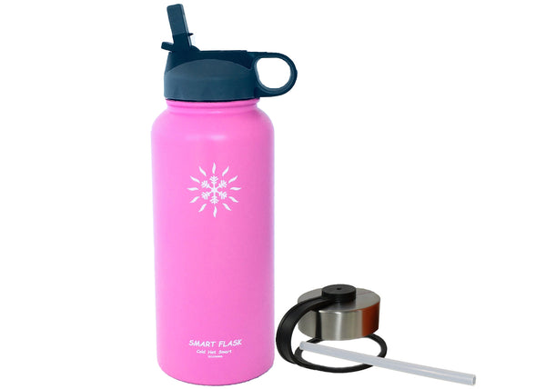 Smart Flask Stainless Steel 32oz. Vacuum Insulated Flask with Straw Lid and Metal Lid, (Pink)