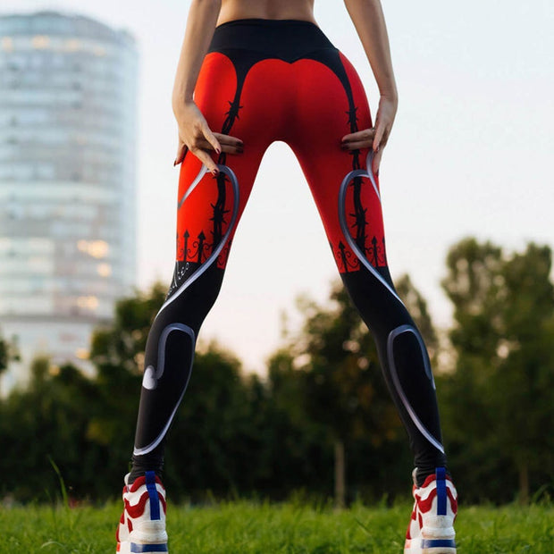 Fitness Heart Red Black Leggings