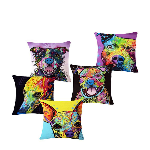 Colourful Dog Cushion Cover
