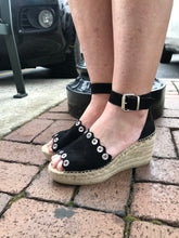 Kanna - Espadrille Wedge - Black Suede