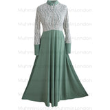 Sara lace abaya (Mint Green) - Muhmin1