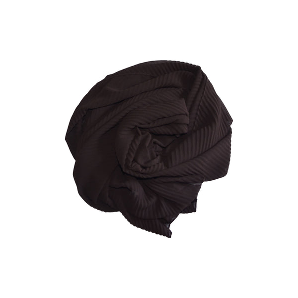 Pleated Hijab (Brown) - Muhmin1