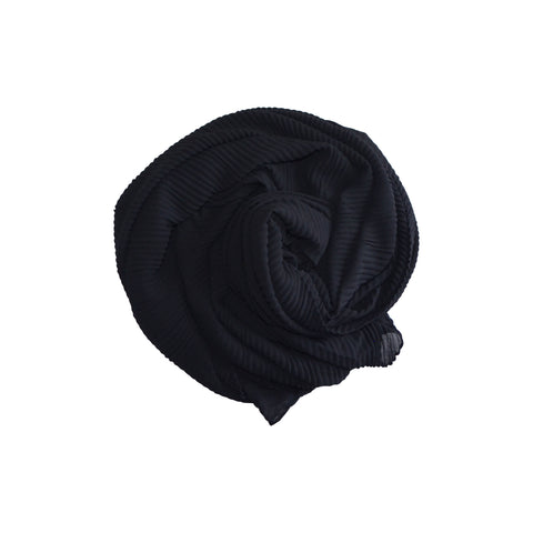 Pleated Hijab (Black) - Muhmin1