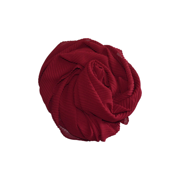 Pleated Hijab (Maroon) - Muhmin1