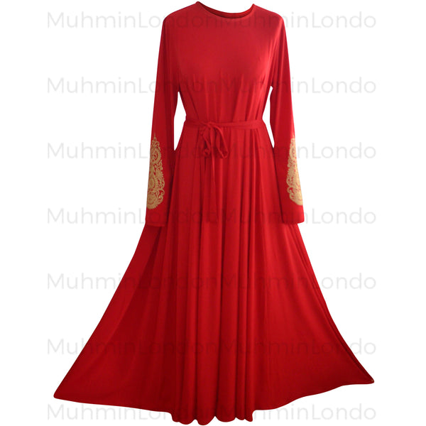 Imani Embroidered Dress (Red) - Muhmin1
