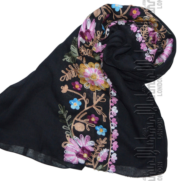 Embroidered Hijab (Black) - Muhmin1