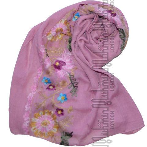 Embroidered Hijab (Candy Pink)