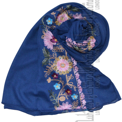 Embroidered Hijab (Blue)