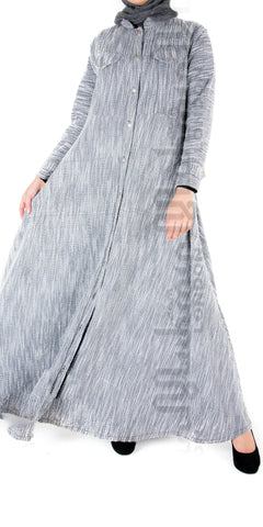 Madia Winter Open Abaya (Grey)