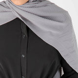 Pleated Hijab (Grey) - Muhmin1