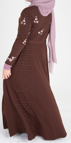 Maira Blossom Embroidered abaya (Brown) - Muhmin1