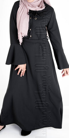 Laiba Front Tie Abaya Dress (Black) - Muhmin1