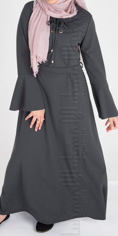 Laiba Front Tie Abaya Dress (Grey) - Muhmin1