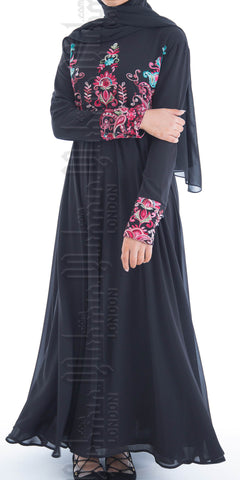 Alisha embroidered abaya (Black) - Muhmin1