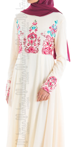 Alisha embroidered abaya (Cream) - Muhmin1