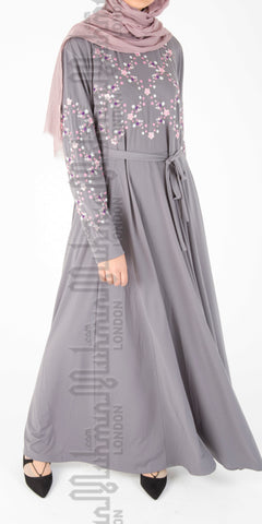 Amaya embroidered abaya (Grey) - Muhmin1