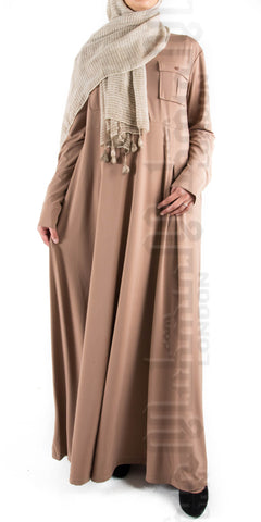 Mahira Pleated Flare abaya (Light Mocha) - Muhmin1