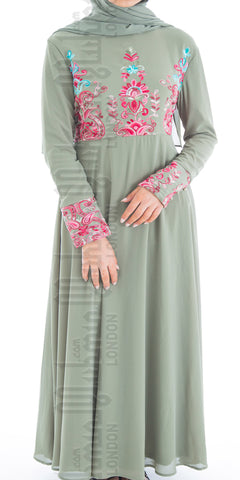 Alisha embroidered abaya (Sage Green) - Muhmin1