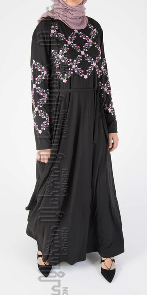 Amaya embroidered abaya (Black) - Muhmin1