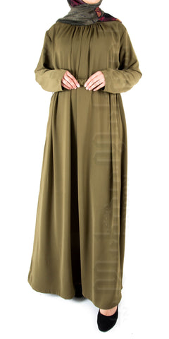 Isha pleat-neck belted abaya (Light Olive) - Muhmin1