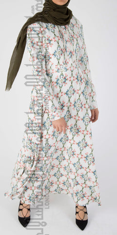 Amal floral dress (White) - Muhmin1