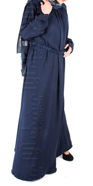 Isha pleat-neck belted abaya (Navy) - Muhmin1