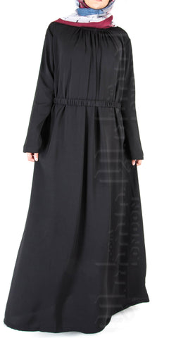 Isha pleat-neck belted abaya (Black) - Muhmin1