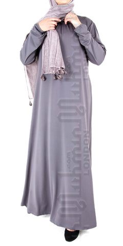 Saira pleat-neck abaya (Grey)