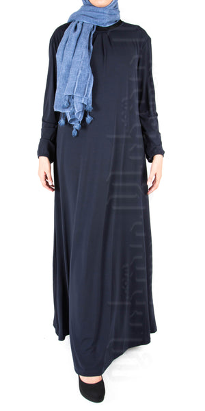 Saira pleat-neck abaya (Navy)