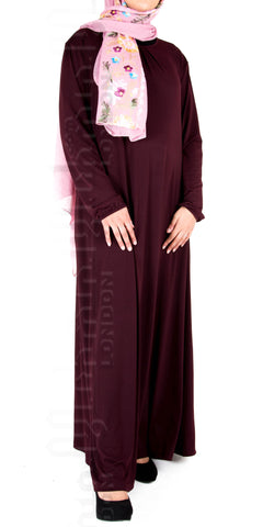 Saira pleat-neck abaya (Plum) - Muhmin1