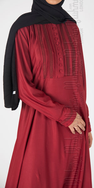 Isra Pleated abaya (Burgundy) - Muhmin1