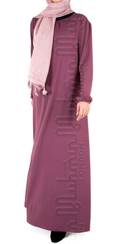 Saira pleat-neck abaya (Pink Rose)